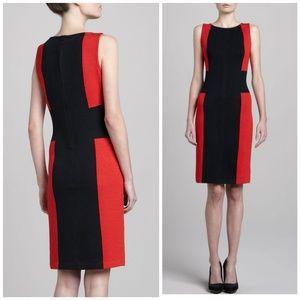 St. John Colorblock Red Black Santana Knit Dress